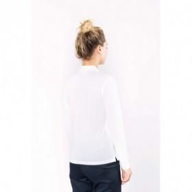 Polo femme manches longues - 60° - Antibactérien - Blanc