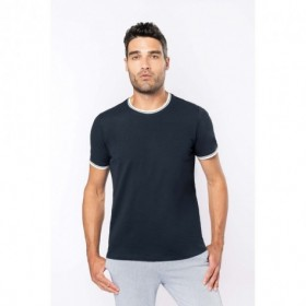 Tee-shirt homme col rond maille piquée bicolore