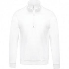Sweat-shirt homme col zippé - Blanc