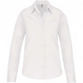 Chemise en popeline femme manches longues - Blanc