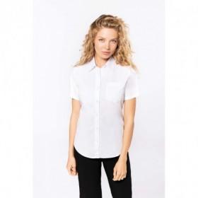 Chemise en popeline femme manches courtes - Blanc