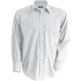 Chemise en polycoton homme manches longues - Blanc