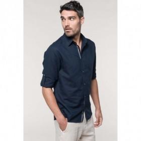 Chemise en lin homme manches longues avec un galon fantaisie