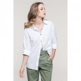 Chemise en lin femme manches longues avec un galon fantaisie
