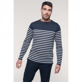 Pull marinière en coton homme