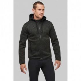 Veste chinée zippée avec capuche contrastée homme
