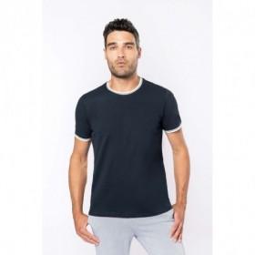 Tee-shirt homme col rond maille piquée bicolore - Couleur