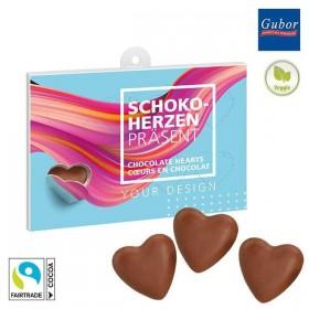 Boîte avec 8 fenêtres de cœurs en chocolat