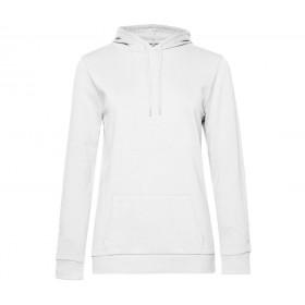 Sweat-shirt blanc femme à capuche french terry