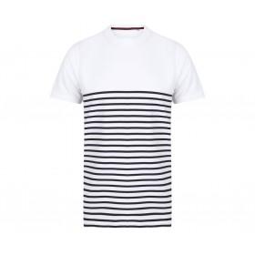 T-shirt marinière blanc manches courtes 180 grs