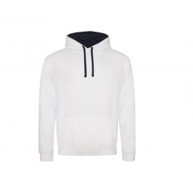 Sweat-shirt blanc à capuche doublée femme