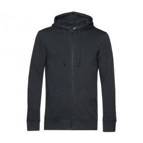 Sweat couleur à capuche zippé en coton organique