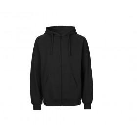 Sweat couleur capuche zippé en coton bio pour homme