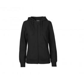 Sweat couleur à capuche zippé en coton bio pour femme