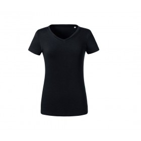 T-shirt couleur organique col V femme