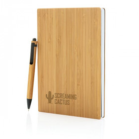 Set carnet de notes A5 et stylo en bambou CALMOUTIER