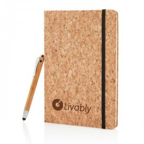Carnet de notes A5 en liège avec stylo en bambou CAMBOUNES