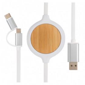 Câble 3 en 1 avec chargeur sans fil en Bambou 5W - GEISHOUSE