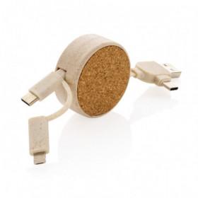 Câble rétractable 6 en 1 en liège et fibre de paille - GELACOURT