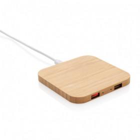 Chargeur à induction 5W en bambou avec double port USB - GELOUX